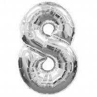 Number 8 Silver Supershape Balloons