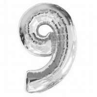 Number 9 Silver Supershape Balloons