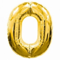 Number 0 Gold Supershape Balloons