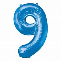 Number 9 Blue Supershape Balloons