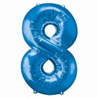 Number 8 Blue Supershape Balloons