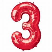Number 3 Red Supershape Balloons