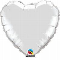 36 Inch Silver Heart Foil