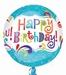 Happy Birthday Splashy Sparkle Orbz Foil Balloon