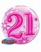 21st Pink Starburst Sparkle Single Bubble