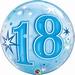 18th Blue Starburst Sparkle Single Bubble Balloons