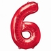 Number 6 Red Supershape Balloons