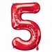Number 5 Red Supershape Balloons