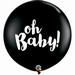 3ft Black Oh Baby Latex Balloons 2pk