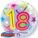 22 Inch Birthday Brilliant Stars Aged 18 - Bubble Balloon