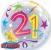 22 Inch Birthday Brilliant Stars Aged 21 - Bubble Balloon