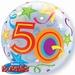 22 Inch Birthday Brilliant Stars Aged 50 - Bubble Balloon